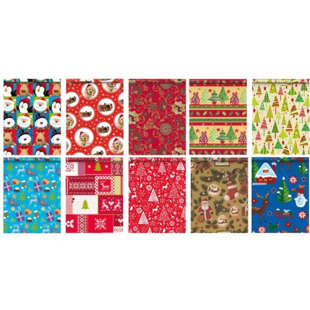 5x Kerst kadopapier/inpakpapier 200x 70 cm - cadeaupapier
