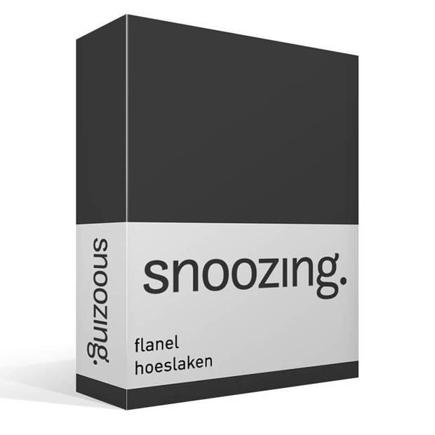 Snoozing flanel hoeslaken - 100% geruwde flanel-katoen - Lits-jumeaux (180x200 cm) - Antraciet