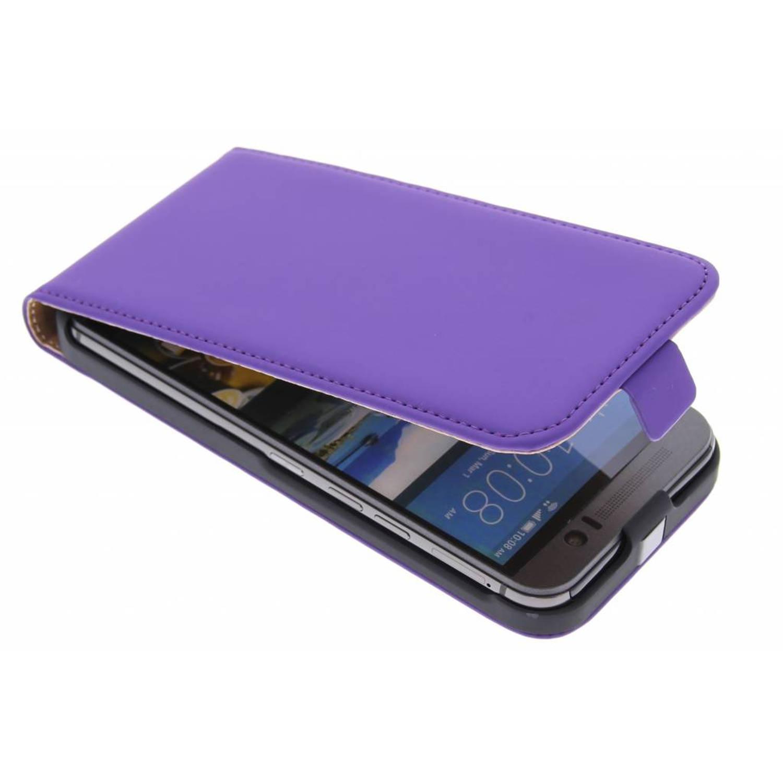 Premium flipcase voor de htc one m9 - purple