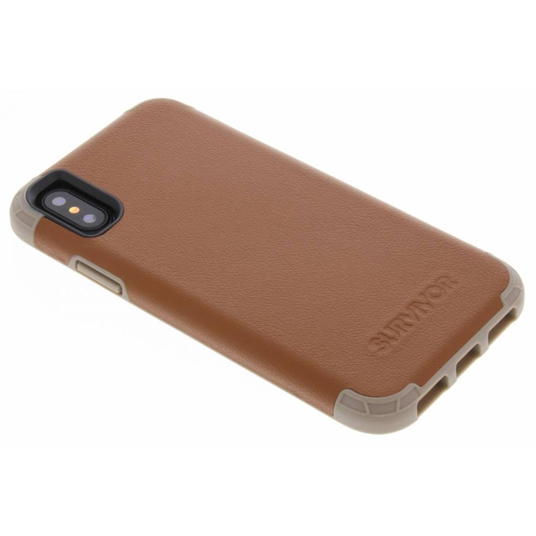 Bruine Survivor Prime Leather Case voor de iPhone Xs / X