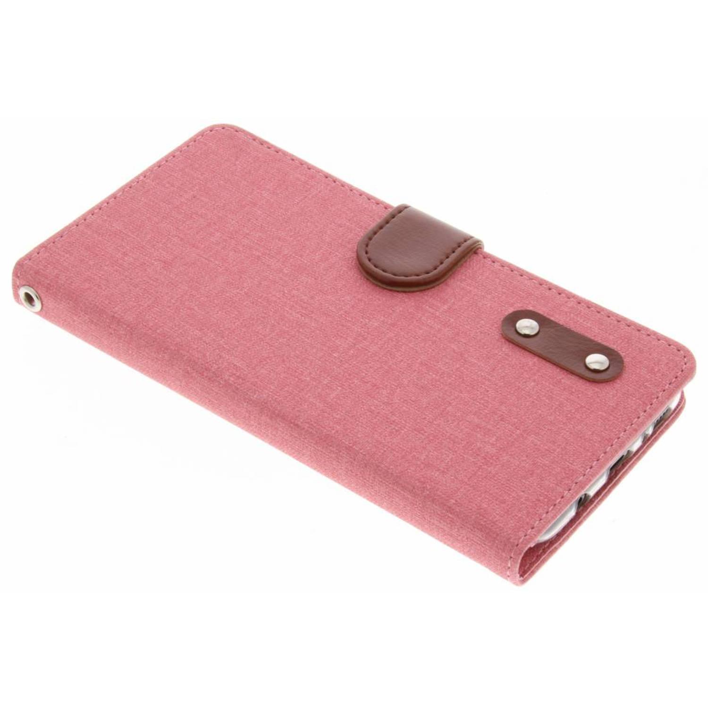 Roze linnen TPU booktype hoes voor de Samsung Galaxy S8 Plus