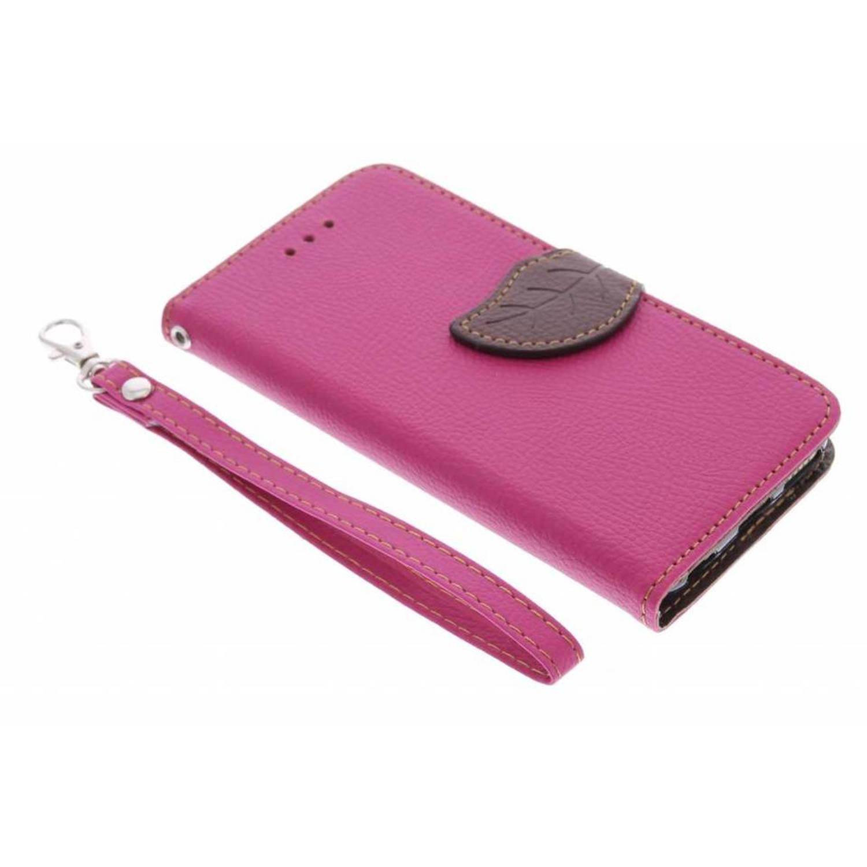 Fuchsia Feuille Conception Booktype Tpu Case Pour Samsung Galaxy S7 T0gKXatN