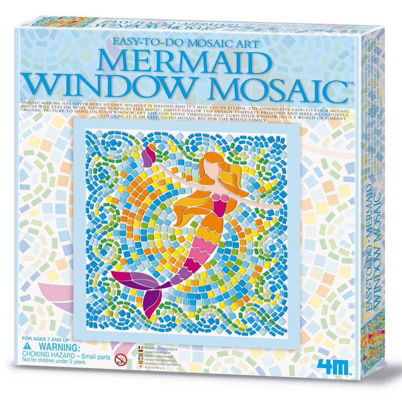 Afbeelding van 4m creatieve knutselset venstermozaïek: zeemeermin blauw