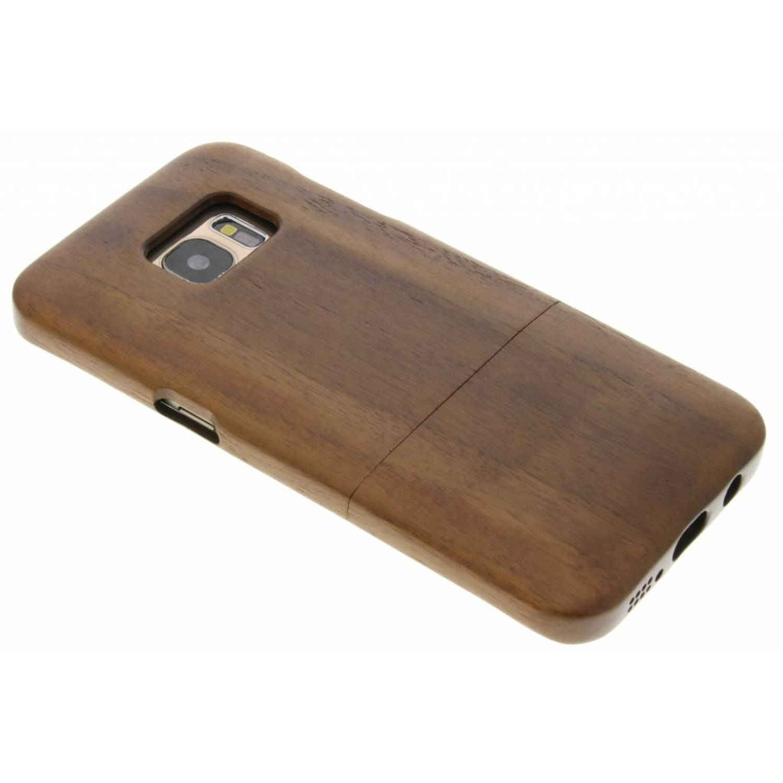 Donkerbruine echt houten hardcase hoesje voor de Samsung Galaxy S7 Edge