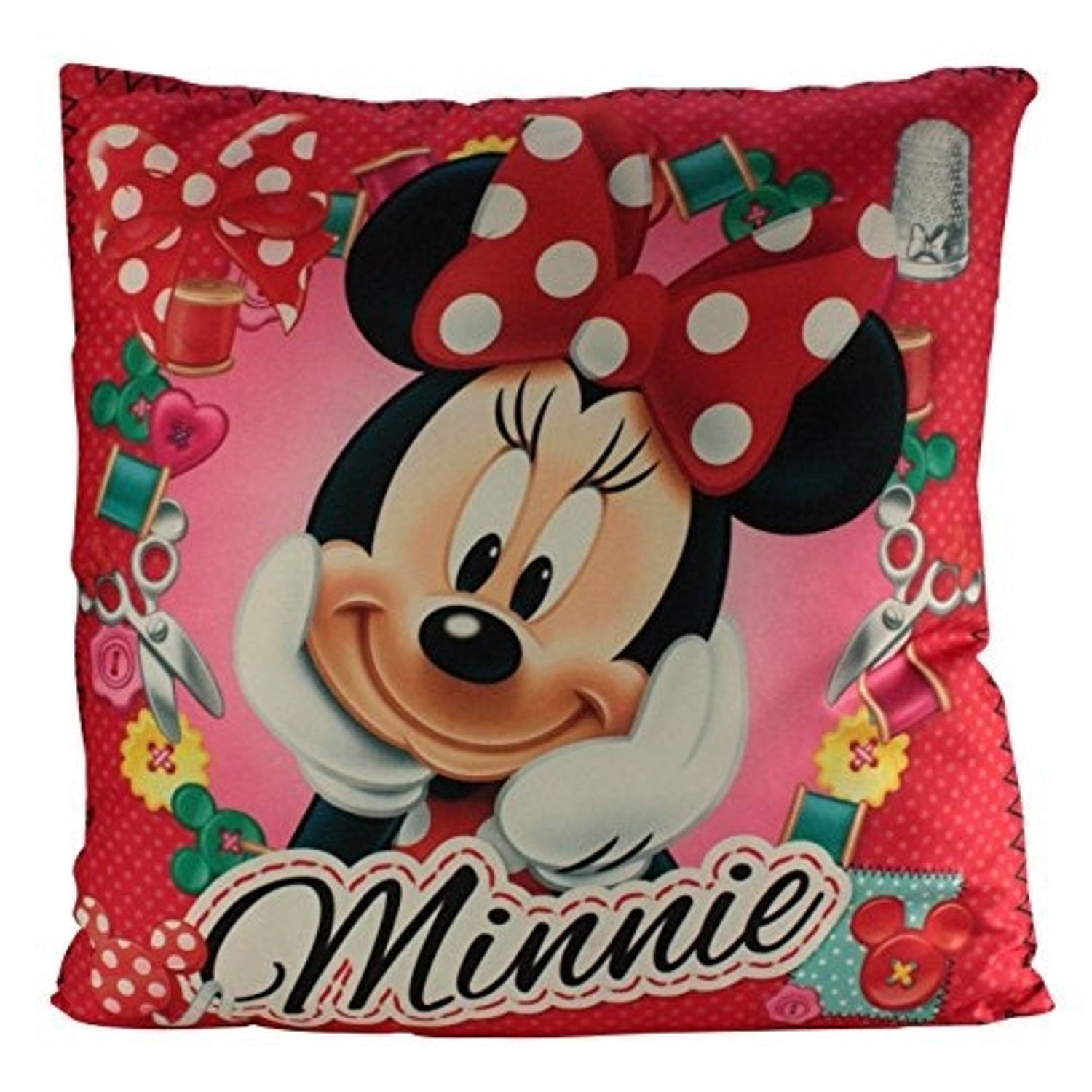 Disney kussen minnie mouse 35 x 35 cm polyester rood