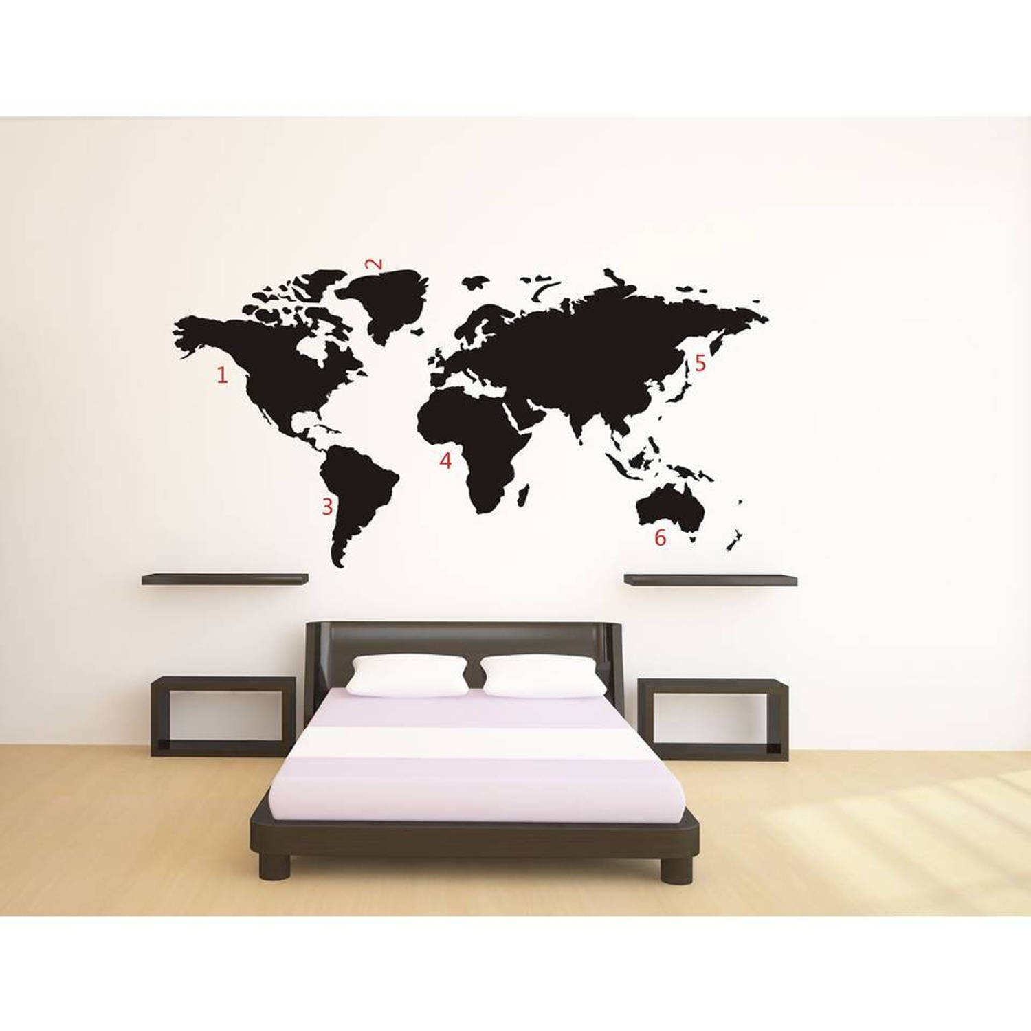 Wereldkaart World Map Black