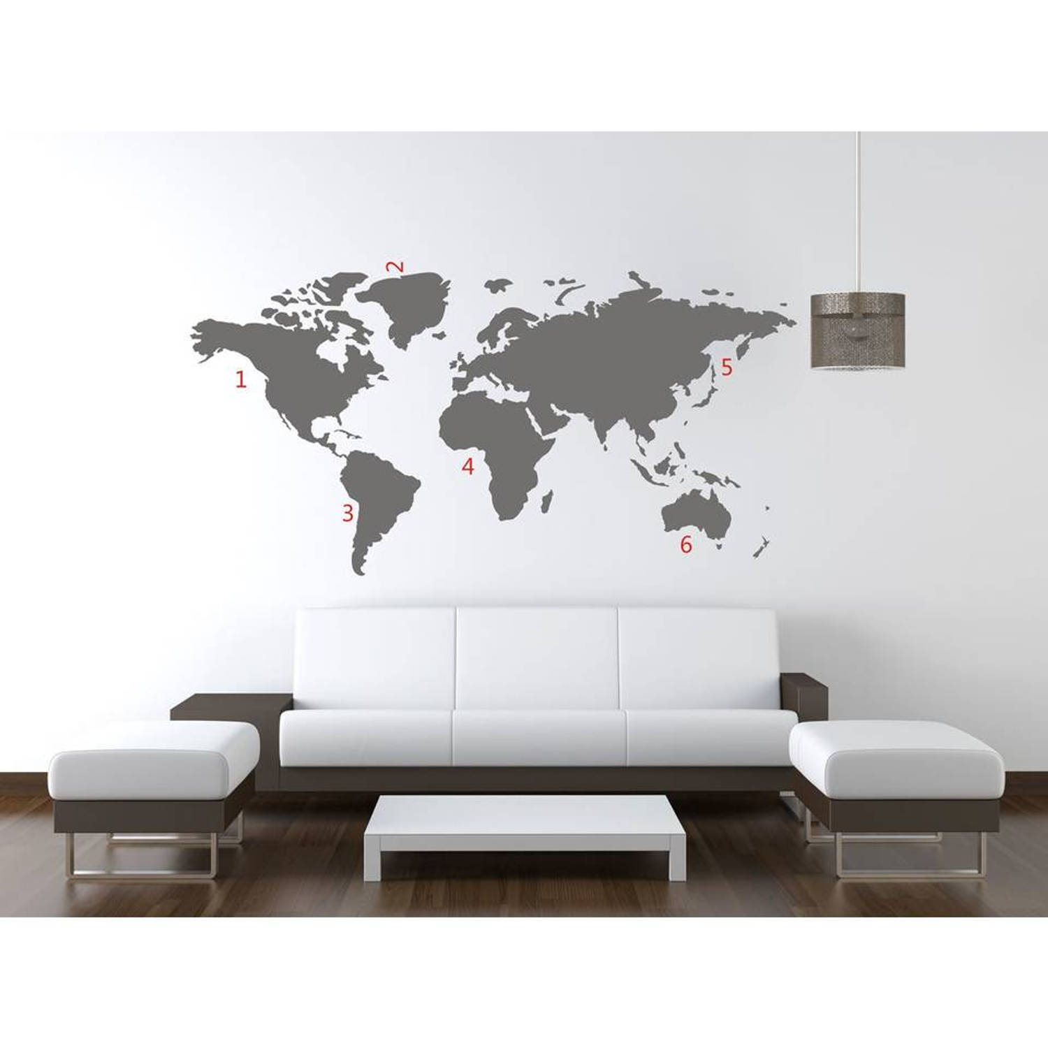 Wereldkaart World Map Grey