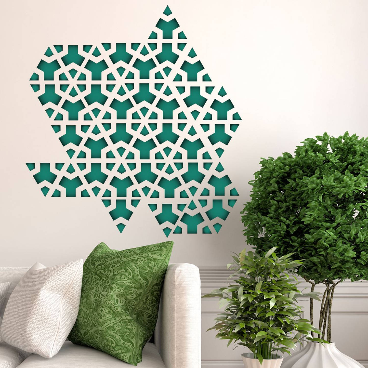Wall Mural Green Triangle Geometry Pattern