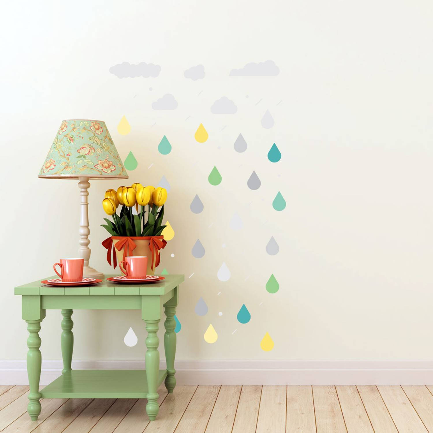 Walplus home decoratie sticker - wolken & regendruppels