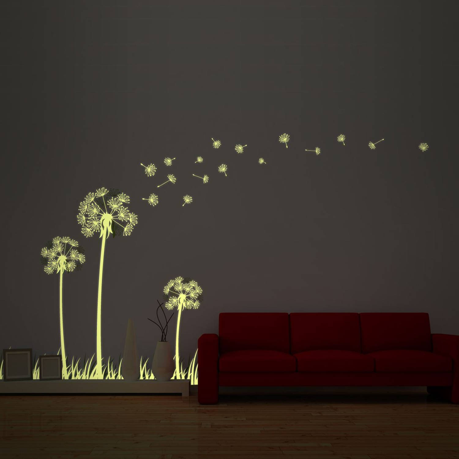 Walplus glow in the dark decoratie sticker - paardenbloem