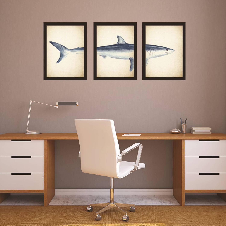 Walplus Home Decoratie Sticker - 2in1 Grote Witte Haai Posters - Set Van 3