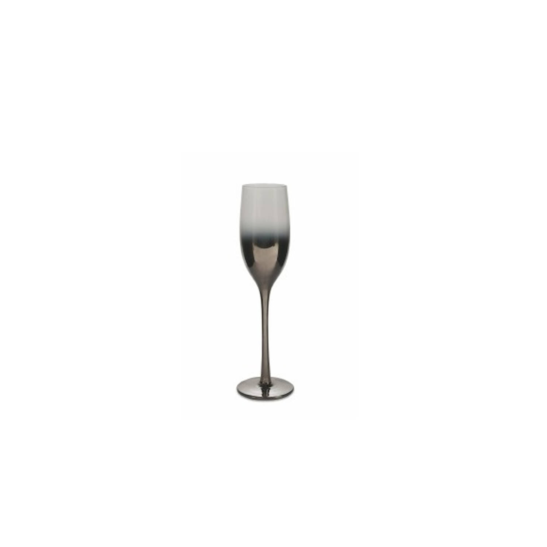 Korting Villa D'este Home Avenue Champagneglazen Flutes Zilver transparant Glas 6 Stuks 205 Ml