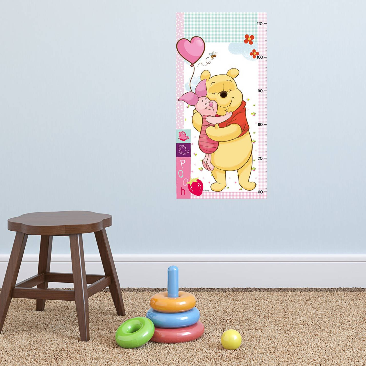 Walplus kids decoratie sticker - disney winnie groeimeter