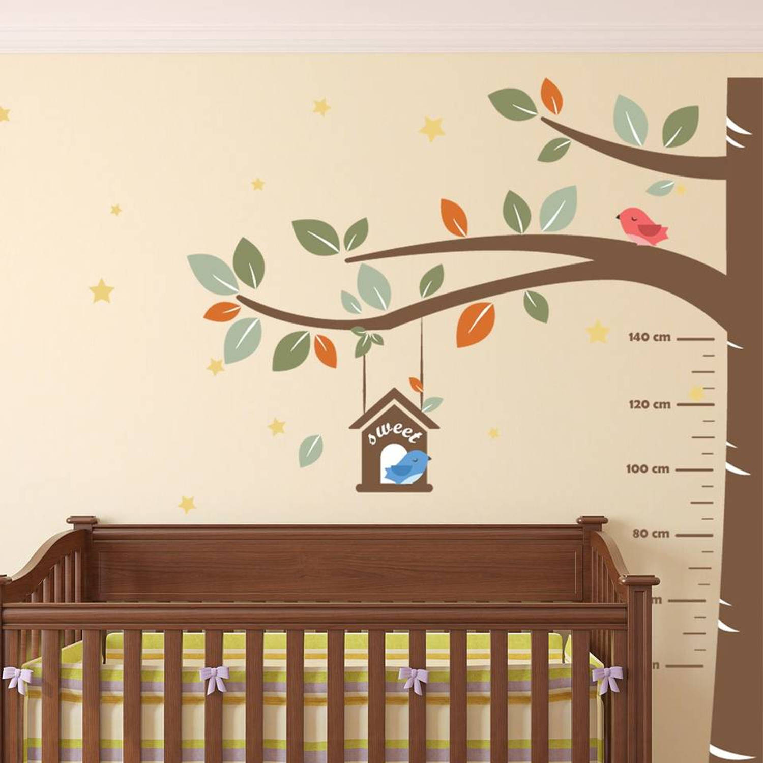 Growth Chart Tree with Birds