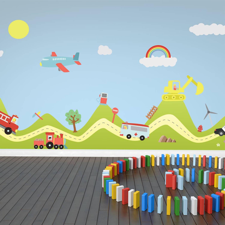 Walplus Kids Decoratie Sticker - Heuvel Met Transport Auto's