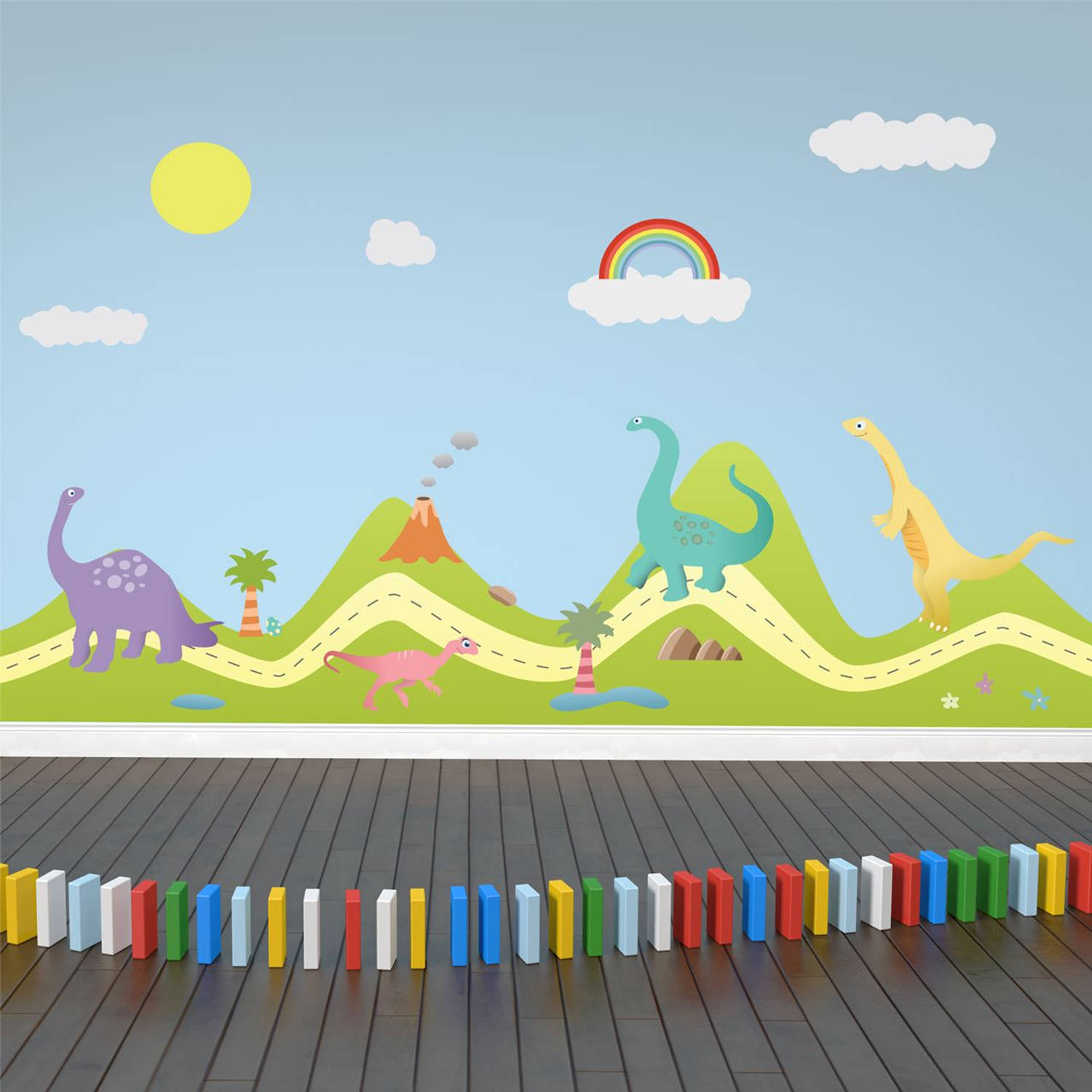 Walplus Decoratie Sticker Heuvel met Dinos