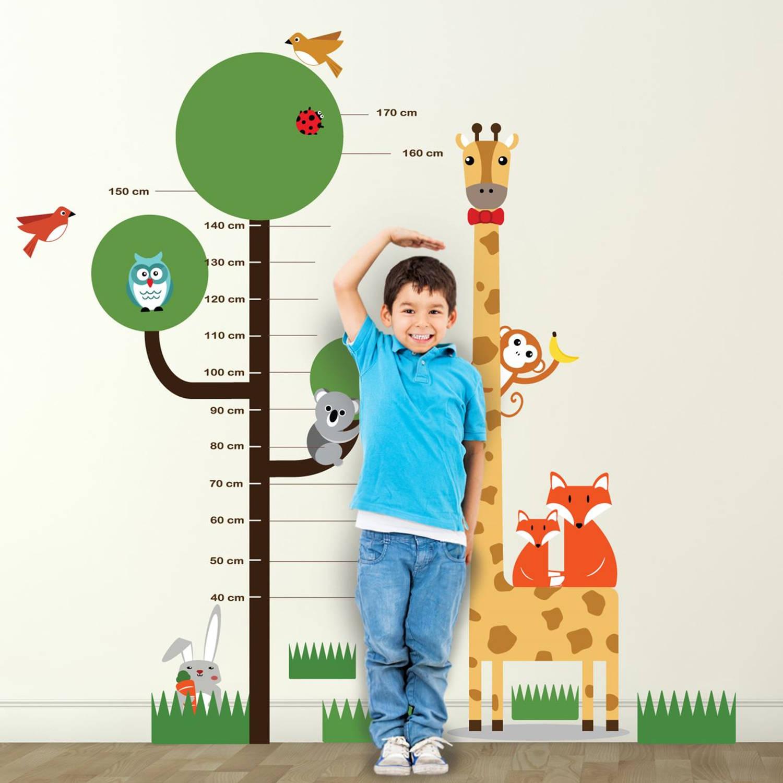 Walplus Kids Decoratie Sticker - Groeimeter Boom Met Dieren
