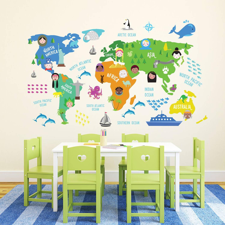 Walplus kids decoratie sticker - kinder wereldkaart