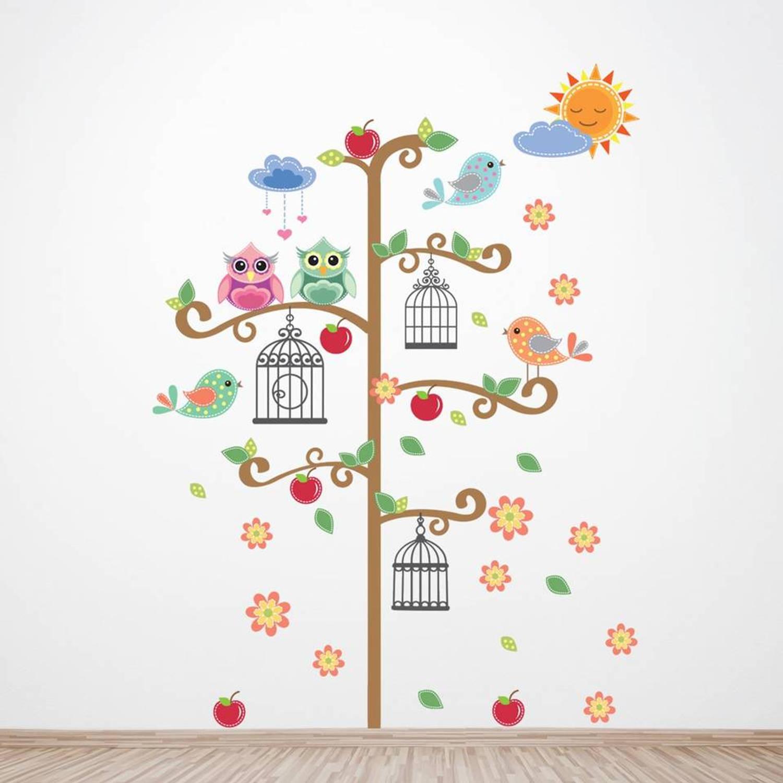 Walplus Decoratie Sticker Vogelkooi Boom