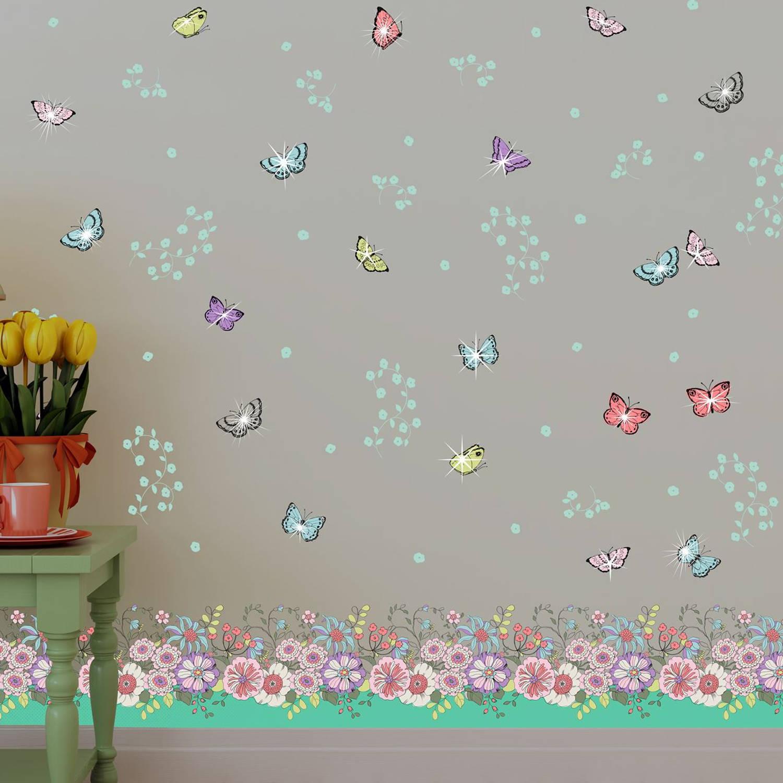 Walplus Home Decoratie Sticker - Zomer Bloemen Met Vlinders En 20 Swarovski Kristallen