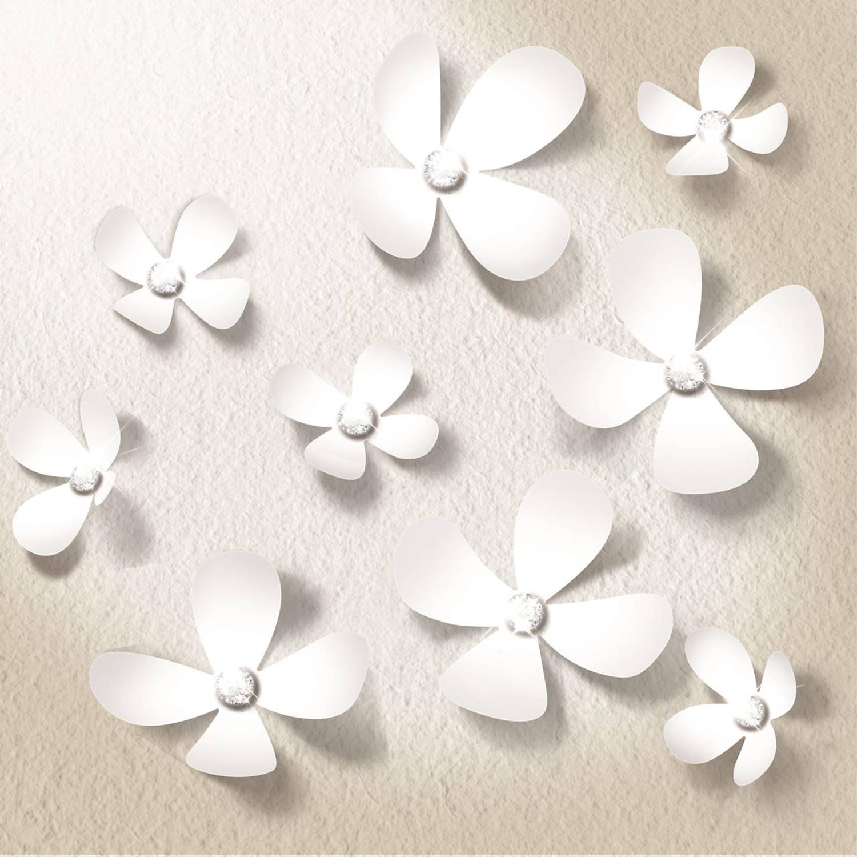 Walplus 3d decoratie sticker - 3d bloemen met 9 swarovski kristallen - wit