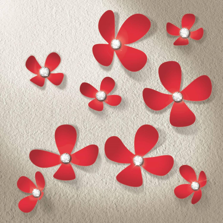 Walplus 3d decoratie sticker - 3d bloemen met 9 swarovski kristallen - rood