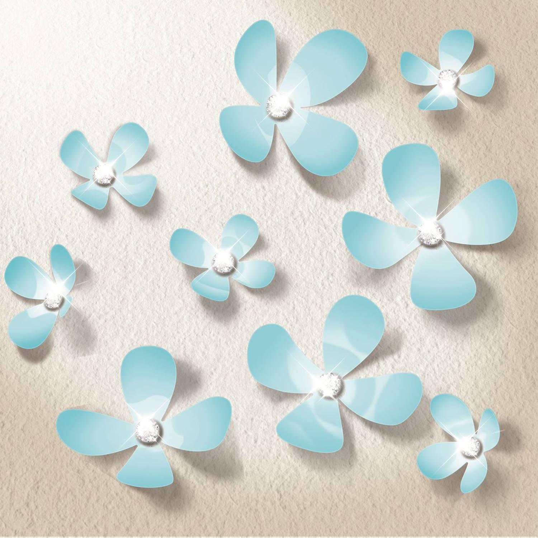 Walplus 3d Decoratie Sticker - 3d Bloemen Met 9 Swarovski Kristallen - Lichtblauw