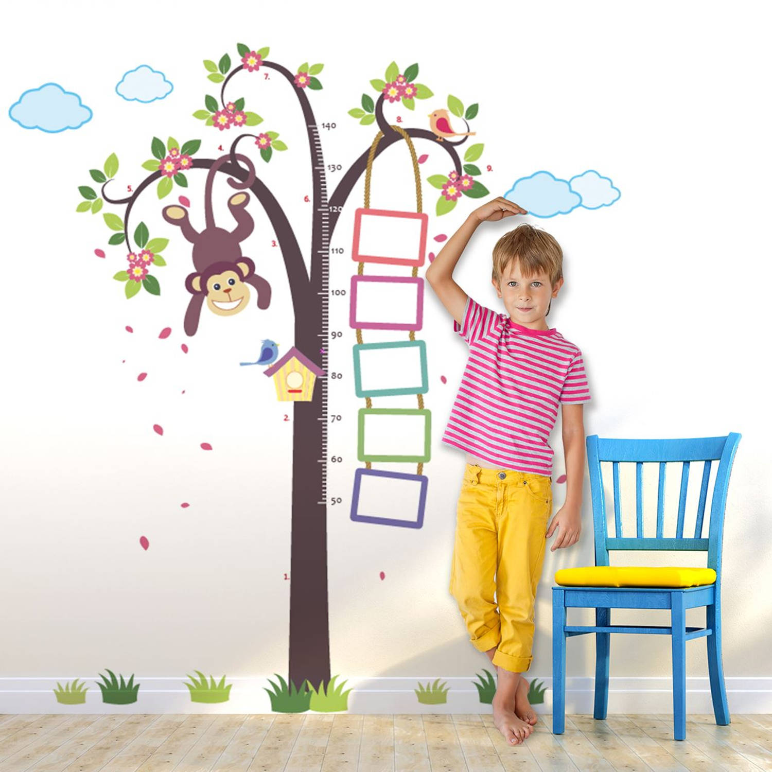 Walplus kids decoratie sticker - groeimeter aap in boom