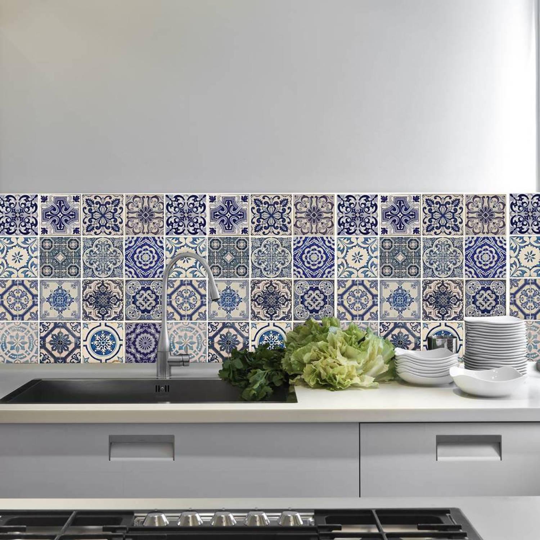 Walplus Decoratie Sticker Muursticker Spaanse Blauwe Tegels