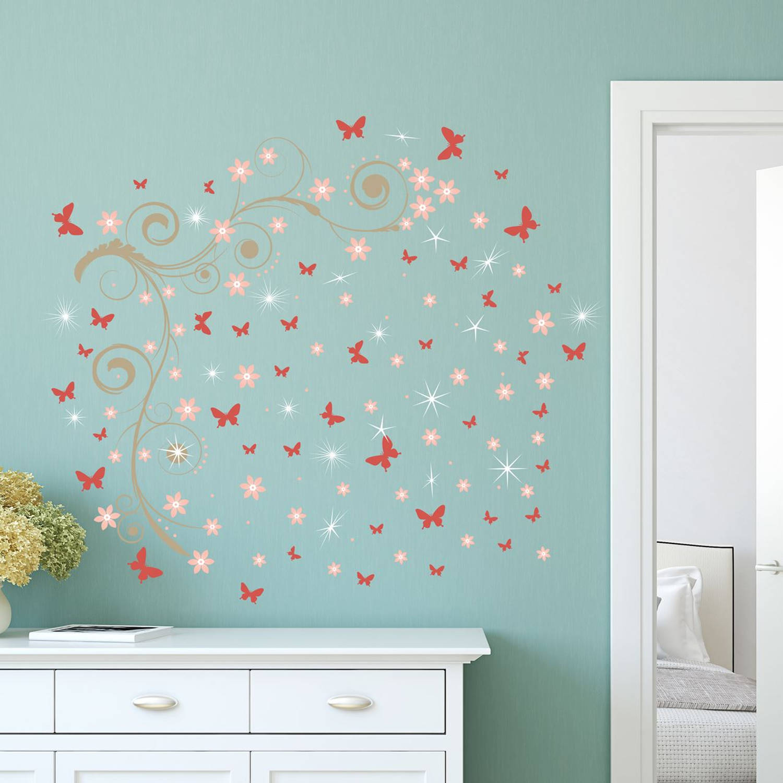 Walplus Home Decoratie Sticker - Roze Vlinders Met Wijnstok En 20 Swarovski Kristallen