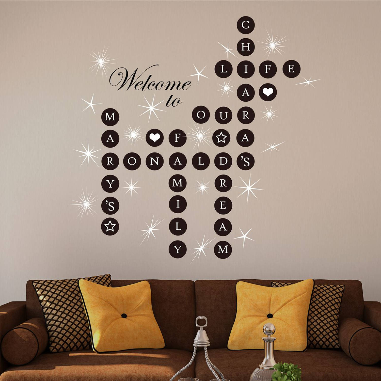 Walplus Home Decoratie Sticker - Persoonlijke Woord Puzzels Met 20 Swarovski Kristallen