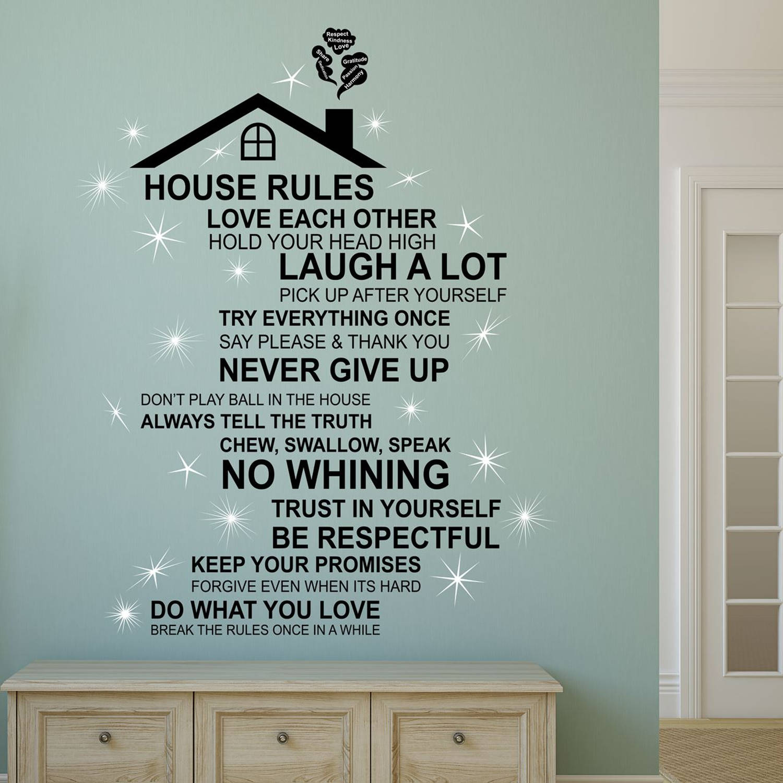 Walplus Decoratie Sticker Huis Regels Quote met Dak (ENG) met Swarovski Kristallen