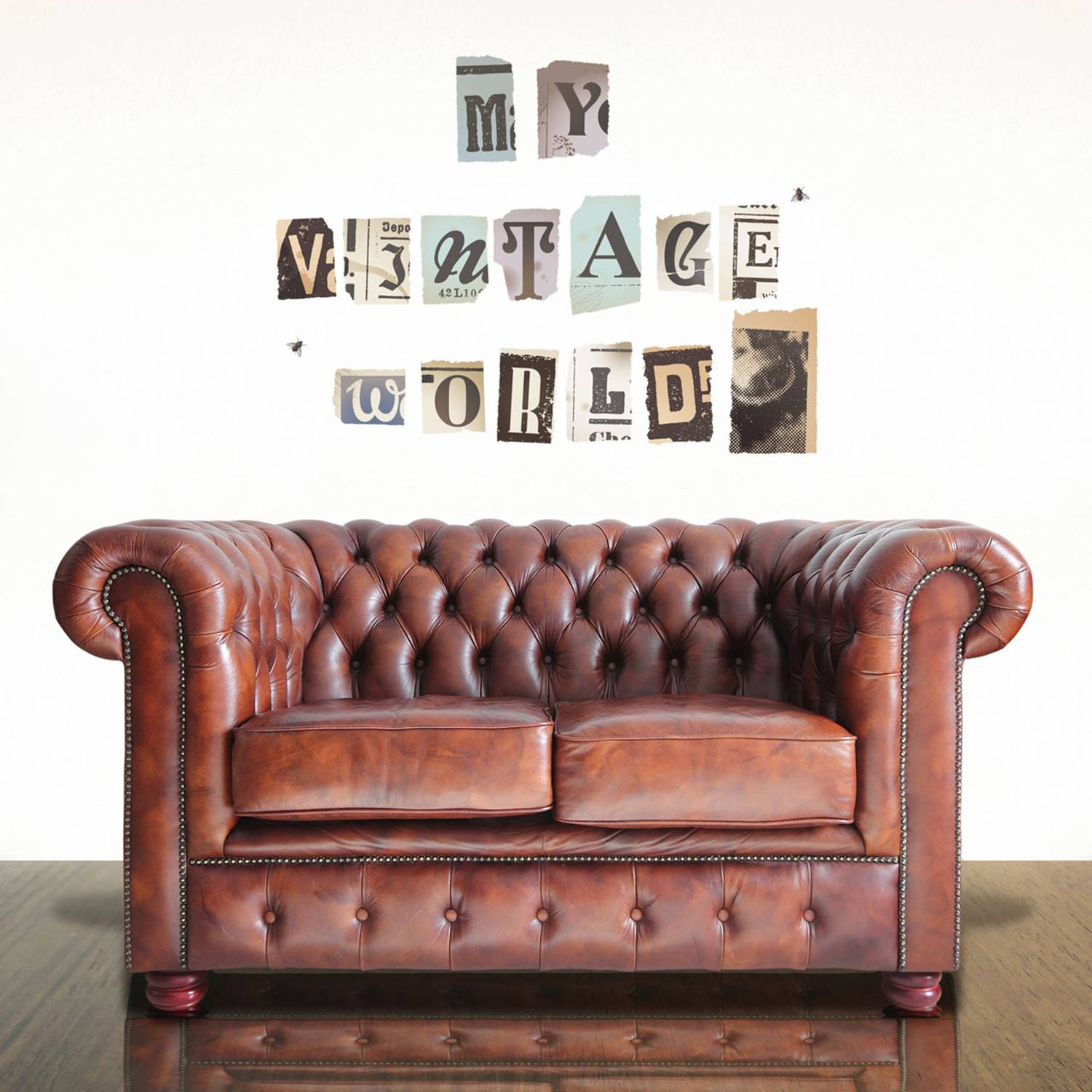 Wall Mural Vintage Newspaper Cutouts Uppercase