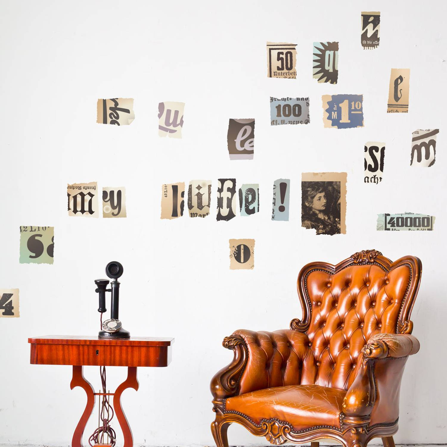 Wall Mural Vintage Newspaper Cutouts Lowercase
