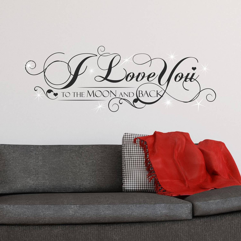 Walplus Home Decoratie Sticker - I Love You Quote Met 9 Swarovski Kristallen