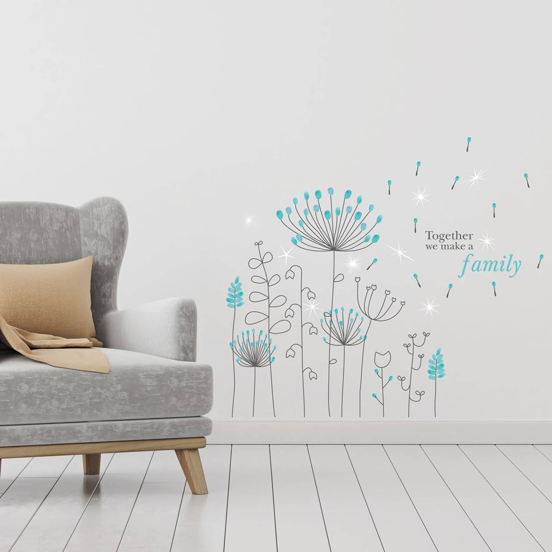 Walplus home decoratie sticker blauwe paardenbloem met 9 swarovski kristallen