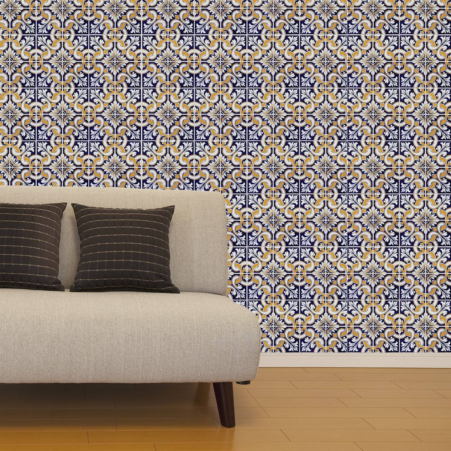 Walplus muur decoratie sticker - talavera tegels 8 x stickervel