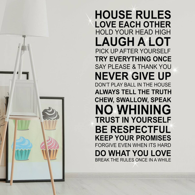 Walplus Home Decoratie Sticker - Huis Regels Quote (Fr) Met 9 Swarovski Kristallen