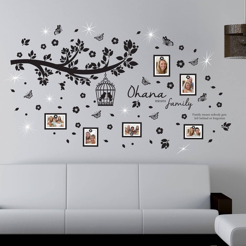 Walplus home decoratie sticker - ohana familieboom foto frames met 9 swarovski kristallen