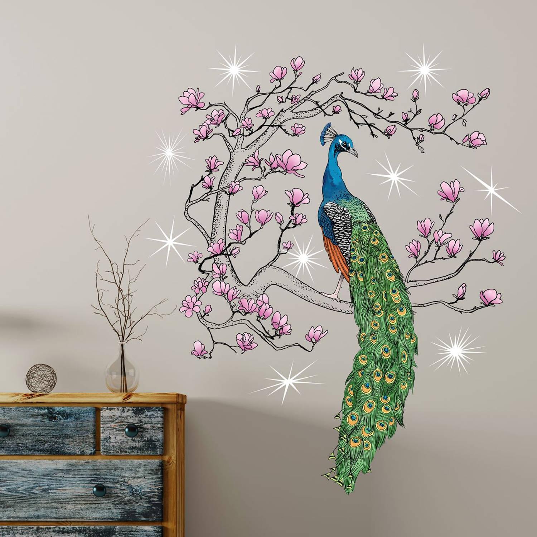 Walplus home decoratie sticker pauw met 9 swarovski kristallen