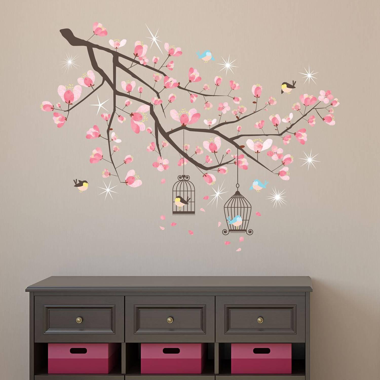 Walplus home decoratie sticker kersen bloesem boom met 9 swarovski kristallen