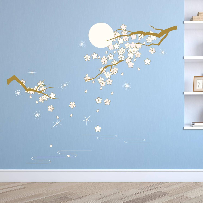 Walplus Home Decoratie Sticker - Lichtroze Bloesem In Maanlicht Met 9 Swarovski Kristallen