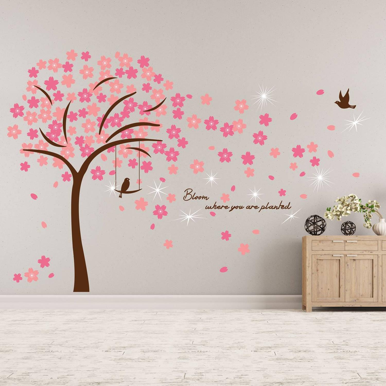 Walplus home decoratie sticker roze bloesem met 9 swarovski kristallen