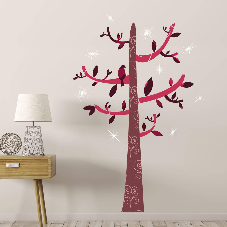 Walplus home decoratie sticker - gekleurde boom met 9 swarovski kristallen + 4 metalen haken