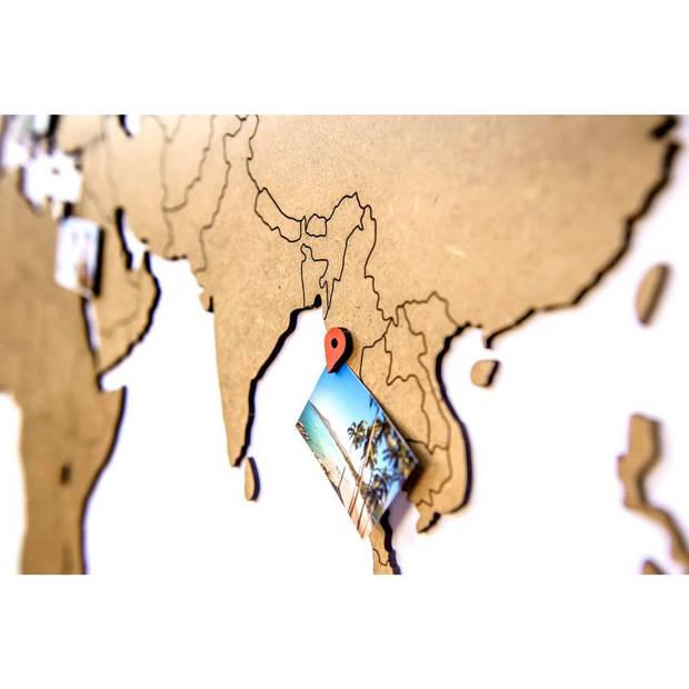 Luxe houten wereldkaart muurdecoratie 130 x 78 cm - bruin