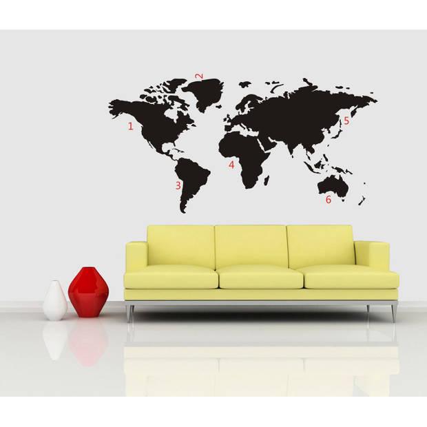 Wereldkaart muursticker - zwart