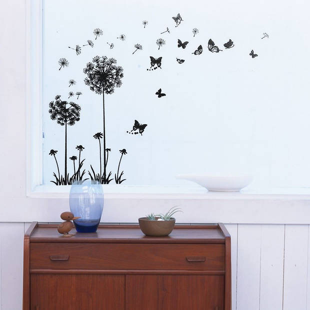 Walplus home decoratie sticker - zwarte paardenbloem