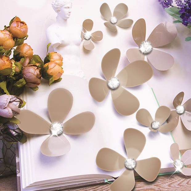 Walplus 3d decoratie sticker - 3d bloemen met 9 swarovski kristallen - bruin