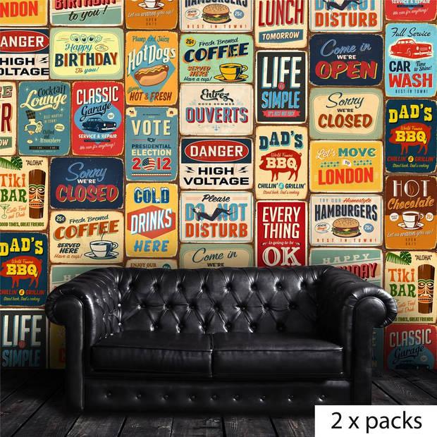 Walplus Muur Decoratie Sticker Vintage Metalen Bord Blokker