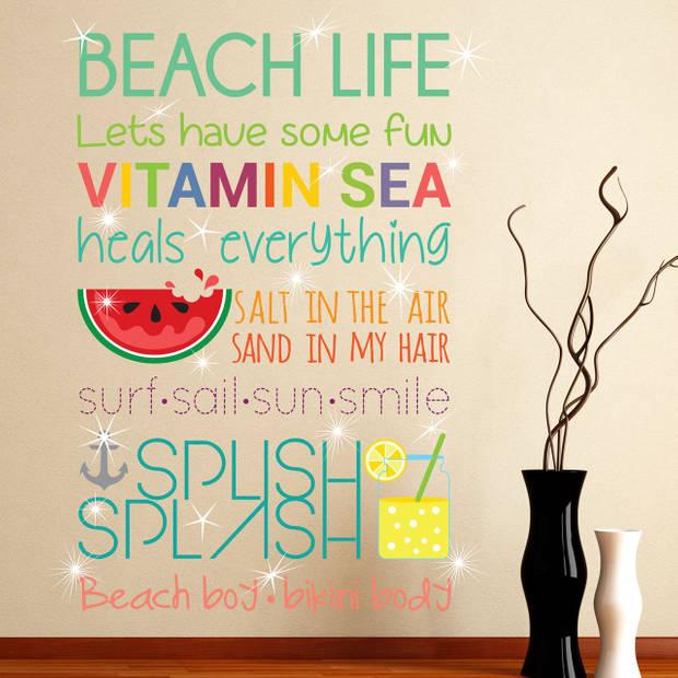 Walplus home decoratie sticker - strand quotes (eng) met 20 swarovski kristallen
